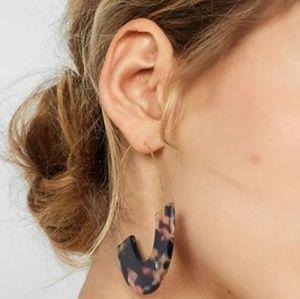 Multi Color Half Tortoise Shell Threader Earrings